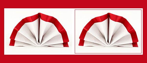 Papierservietten falten doppelter Fächer: originelle zweifarbige Tischdeko aus zwei Servietten