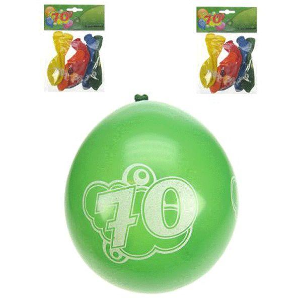 8 stuks gekleurde leeftijd ballonnen met opdruk, hoera 70 jaar. Formaat leeftijd 70 jaar ballonnen: 25 cm. Meer leeftijdsversiering voor een 70 jaar verjaardag kunt u ook in deze feestartikelen winkel bestellen.