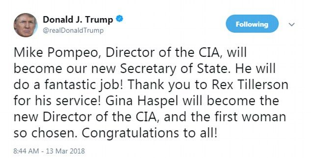 Trump fires Rex Tillerson and replaces him with CIA boss Mike Pompeo -  Dramatic morning tweet by the president announces that Rex Tillerson has been fired as Secretary of State  Tillerson the former boss of Exxon had just been on a trip to Africa and was last seen boarding his Air Force place on Monday  His last public act was to blame Russia for the poisoning of its former spy Sergei Skripal at a British pizza restaurant - something White House had not done  Gina Haspel becomes first ever…