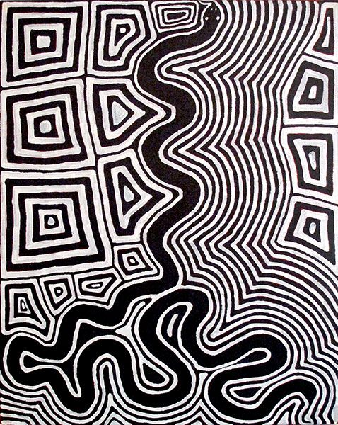 Ronnie Tjampitjinpa ~ Untitled (Tingari motifs and snake), 1997