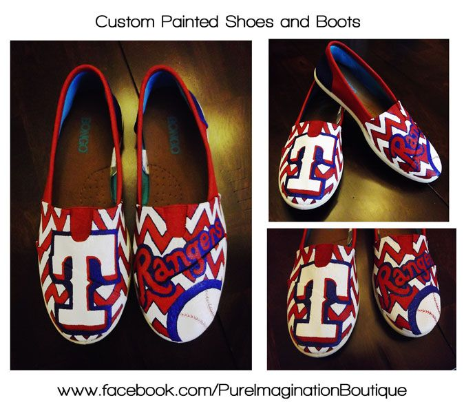 Texas Rangers Chevron print painted shoes - If interested in having a pair of shoes painted, please visit my shop www.etsy.com/shop/paintedsoleshoes