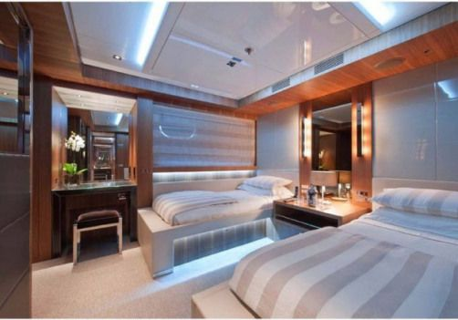A twin room aboard luxury yacht South – Fraser Yachts #yacht #yacht #bedroom