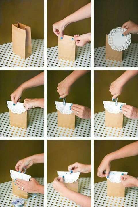 Saco de papel com doilies