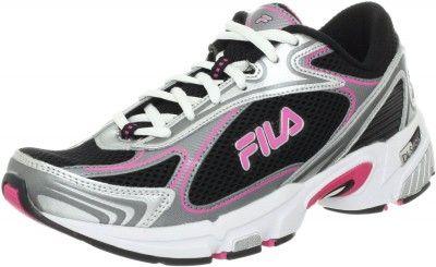Tenis Fila Womens DLS Tenacity Running Shoe Black Metallic Silver Hot Pink #Tenis #Fila