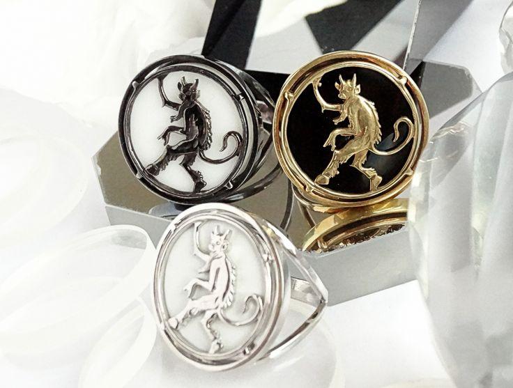 Серебряные кольца Сатир. серебро, белый родий, черный родий, позолота, черный агат, белый агат | «Ламбада-маркет»