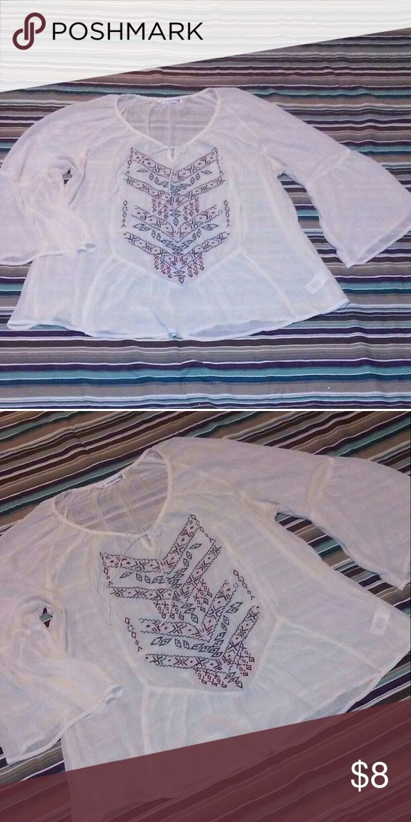 Maurice's Plus Size Sheer Blouse White Quarter Sleeved Sheer Tribal Print Blouse Size 3XL from Maurice's Maurices Tops Tunics