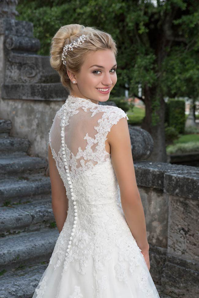 The detachable lace jacket that matches Style 3878 from Sincerity Bridal