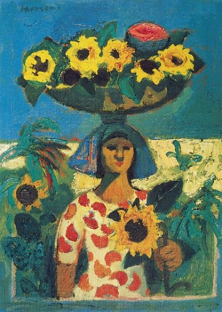 Alberto Morroco Woman with Sunflowers 14x11 | Scottish Contemporary Art
