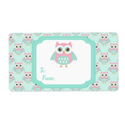 Owl background with cute Owl Label - labels customize diy cyo personalize