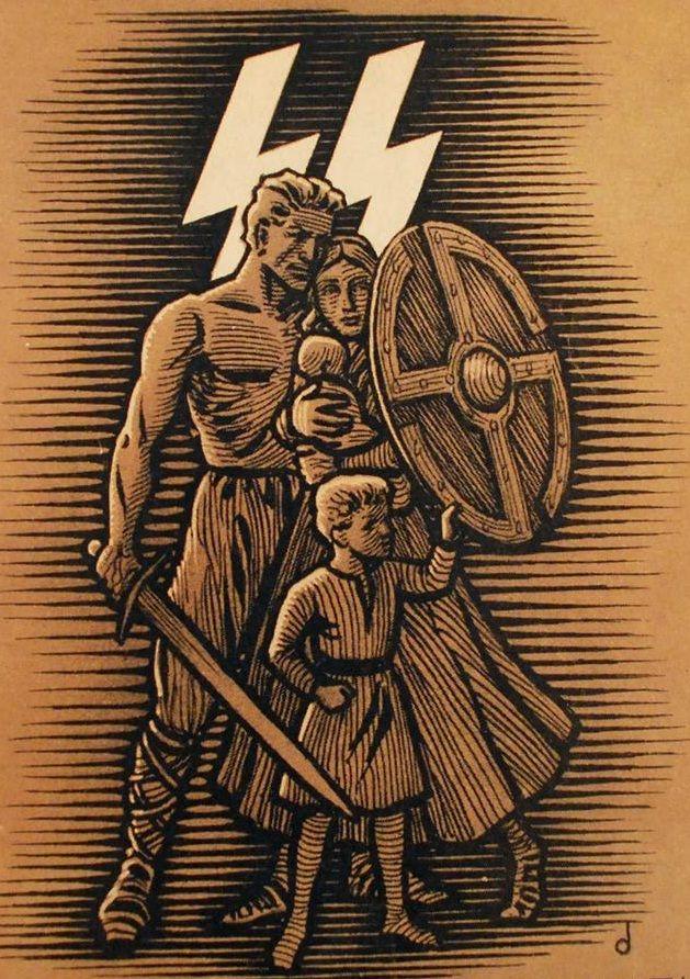 Dit is een propaganda poster van de NSDAP: De politieke partij van Hitler staat voor  Nationaal Socialistische Duitse Arbeiders Partij