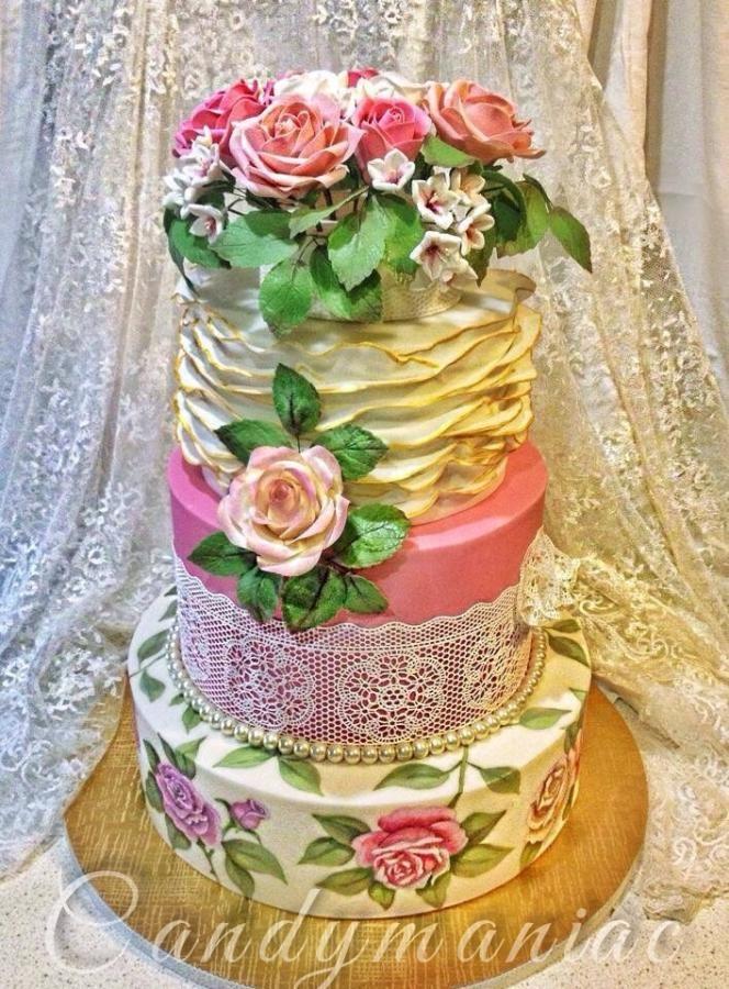 Vintage wedding cake - Cake by Mania M. - CandymaniaC