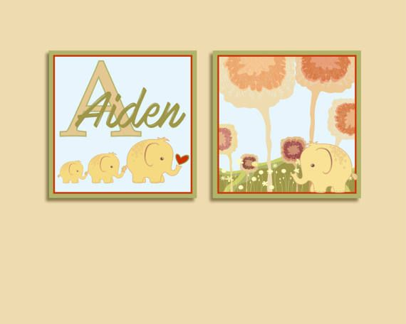 62 best Elephant themed personalized vinyl wall decals and art ...