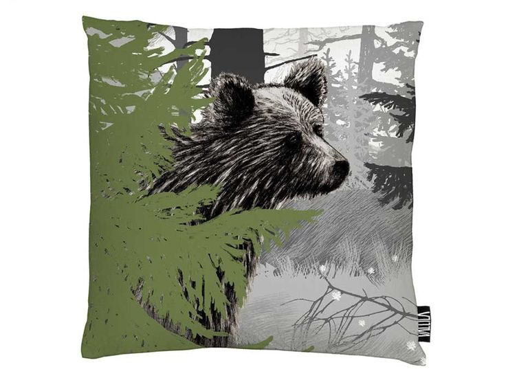 Karhunkierros Cushion Cover - The Karhunkierros cushion cover is inspired by the nature and wildlife of Finland. The double sided design features a bear standing quietly for a moment, as nature prepares for winter. By Vallila Interiors of Helsinki and exclusive to NZ in Harvey Furnishings.