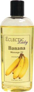 Banana Massage Oil, 8 oz by Eclectic Lady. $12.99. Dye Free. 8 Fluid Ounces. Preservative Free. We use sweet almond oil, jojoba oil, and soybean oil as the base oils for our massage oils. Sweet almond oil and soybean oil are superb for use in massage as they both give an excellent glide. Jojoba oil is very similar to the oil your skin produces. This banana fragrance smells like sweet, ripe bananas.