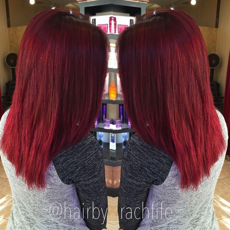 Bright red mermaid hair. Red hair. Pravana vivids red and wild orchid hair by Rachel Fife @ SF Salon