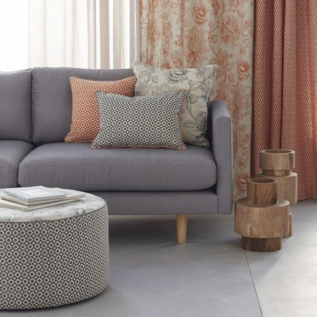 Warwick Fabrics: MANDALAY / fabric textiles / upholstered ottoman / cushions / sofa / drapery