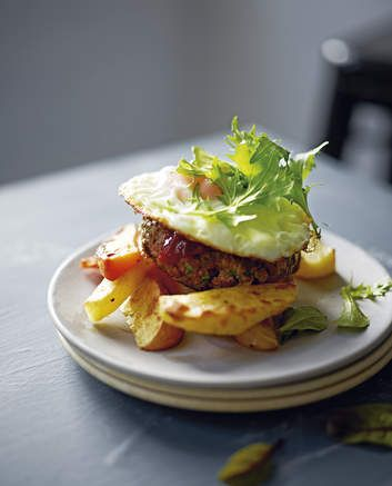 Open beefburger with beetroot relish.