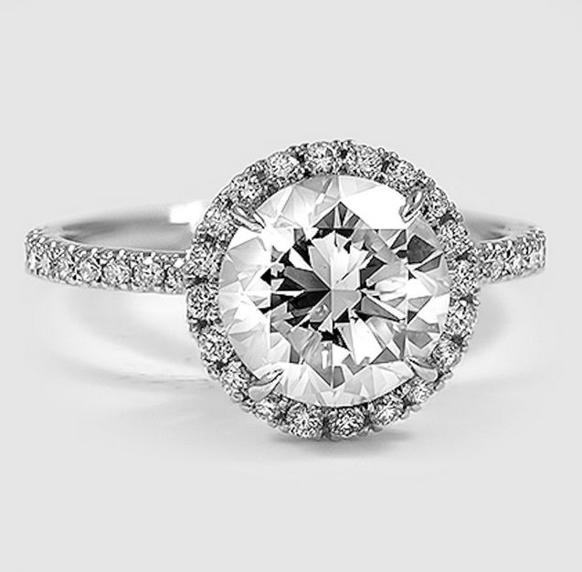 A diamond encrusted halo setting.