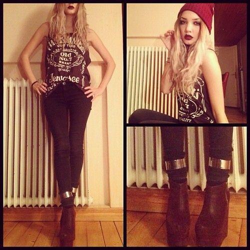 Drdenim Jeans, Ankle Cuffs, Jack Daniels Tank Top, Platform Wedges