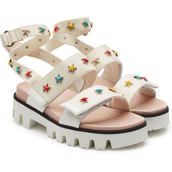 R.E.D. Valentino Studded Canvas Sandals ($359) ❤ liked on Polyvore featuring shoes, sandals, white, studded sandals, canvas shoes, white shoes, star shoes and red valentino shoes