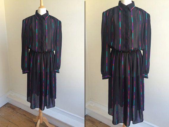 1980s Sheer Black Stripe Shirtdress  Size Large by HappyRedUK