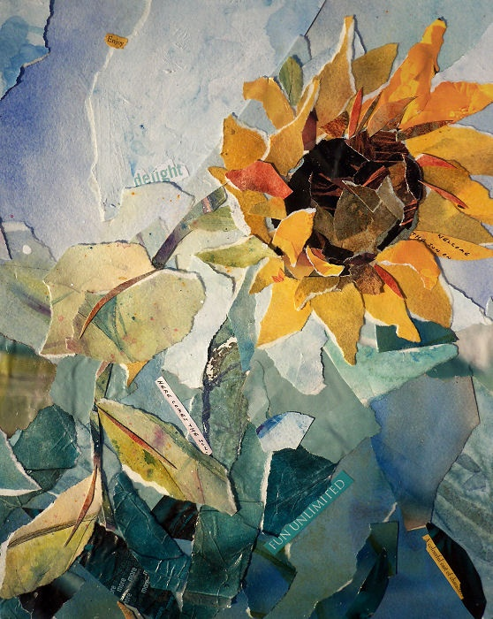 Loose and natural looking sunflower collage. Nice colors. Here Comes the Sun