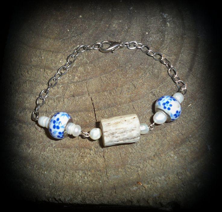 Real deer antler bracelet,deer antler bead,china bead,deer antler jewelry by FindleysDreamTree on Etsy