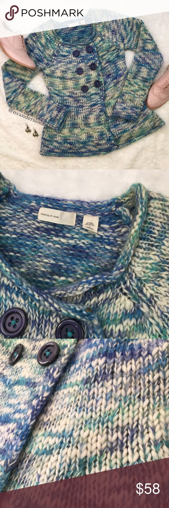 """Anthro Sleeping on Snow sweater ❄️Lovely knit sweater from Anthropologie brand, Sleeping on Snow. 💙💚Blue, green, and cream mix together is this beautiful piece with six buttons to close the sweater and a small button clasp at the neck. Made from 72% wool & 28% acrylic, the sweater measures 15"""" across the chest and 24"""" from shoulder to hemline. No rips or stains. Please see all photos and ask any questions prior to purchasing. *Listing for sweater only. Anthropologie Sweaters"""