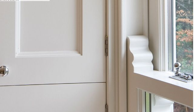 Sliding sash window and shutter detail by Hayburn & Co.
