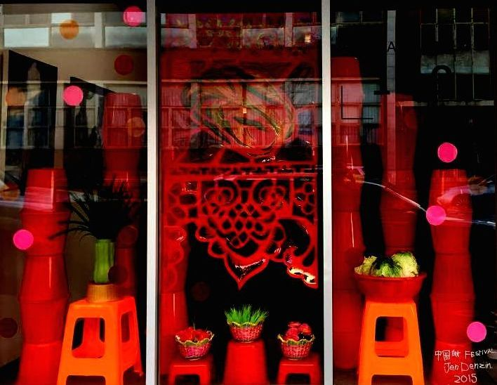 Jen Denzin: China Week Festival, Gallery 139 window installation, 2015.