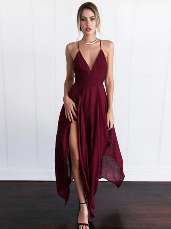 2018 Burgundy Prom Dress Modest Cheap Simple Long Prom Dress #VB1903