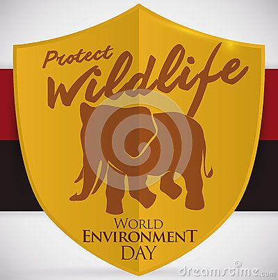 Poster with golden shield and elephant silhouette to celebrate World Environment Day in host country in 2016: Angola.