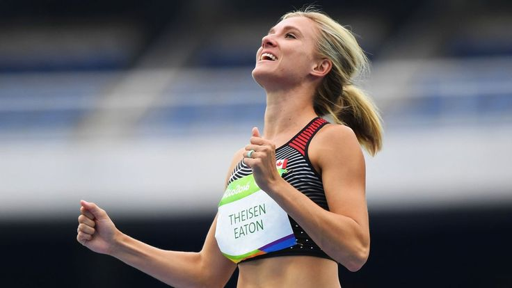 08.13.16 Canada's Brianne Theisen Eaton, wife of American decathlete Ashton Eaton, wins bronze in the heptathlon. This is the first medal in the discipline for Canada. #Rio2016