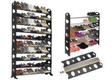 Kb. 30 pár cipő tárolására alkalmas, 5 részre szétszedhető, fekete-szürke cipőtartó állvány