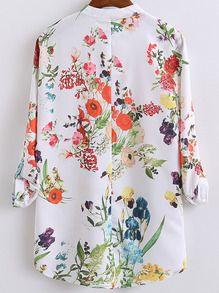 Асимметричная модная блуза с цветочным принтом