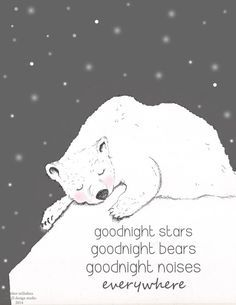 Goodnight Stars Goodnight Bears Goodnight Noises .....everywhere  My take on one of my favorite childrens bedtime stories, just in time for winter.  This adorable new art featuring Heather Stillufsens whimsical Polar Bear is new to the shop for 2014.  *Print of the original pencil and digital illustration **Printed on - Epson Matte Paper ( really beautiful) *8x10 and 5x7 are printed on 8 1/2 by 11 paper which can be cut down for framing if necessary. *13x19 is gorgeous, poster size *This…