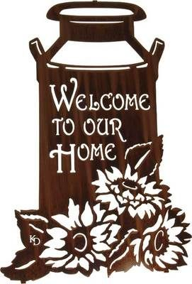 """Metal Wall Art ~ 22"""" Milkcan with Sunflowers Welcome Sign*vector*"""