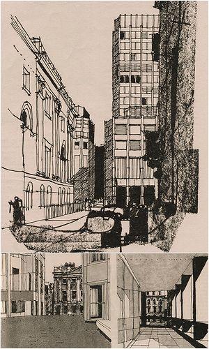 Alison & Peter Smithson, Economist Buildings, London -Gordon Cullen 1965
