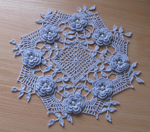 Ravelry: Blue Rose Doily pattern by Rosanne Kropp.  A romantic and delicate crochet piece. Just beautiful.