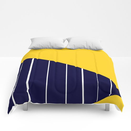 Yellow Sun and Stripes Comforters by Bravely Optimistic   Society6