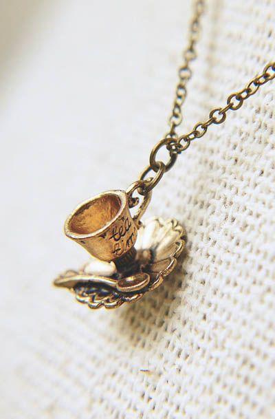 Antique Gold Teacup Necklace Tea Time Fairy Tale Alice in Wonderland