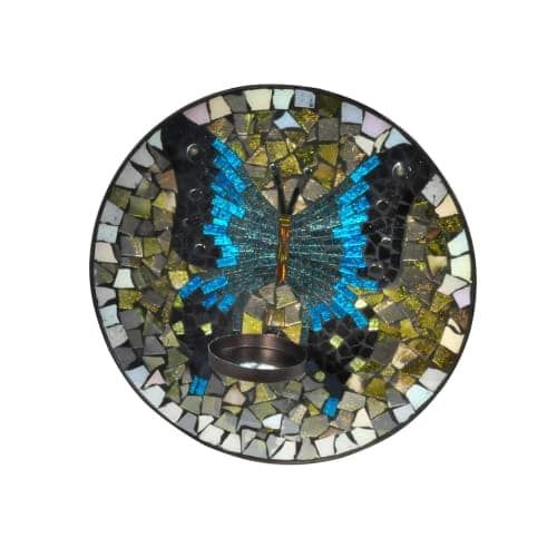 Dale Tiffany AV15424 Butterfly Mosaic 12 Inch Tall Wall Mounted Candle Holder (Glass)