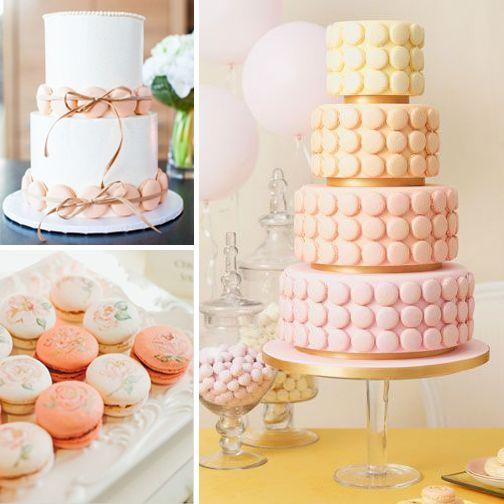 Pastel tonlar kullanılarak macaronlarla hazırlanmış harika düğün büfeleri..