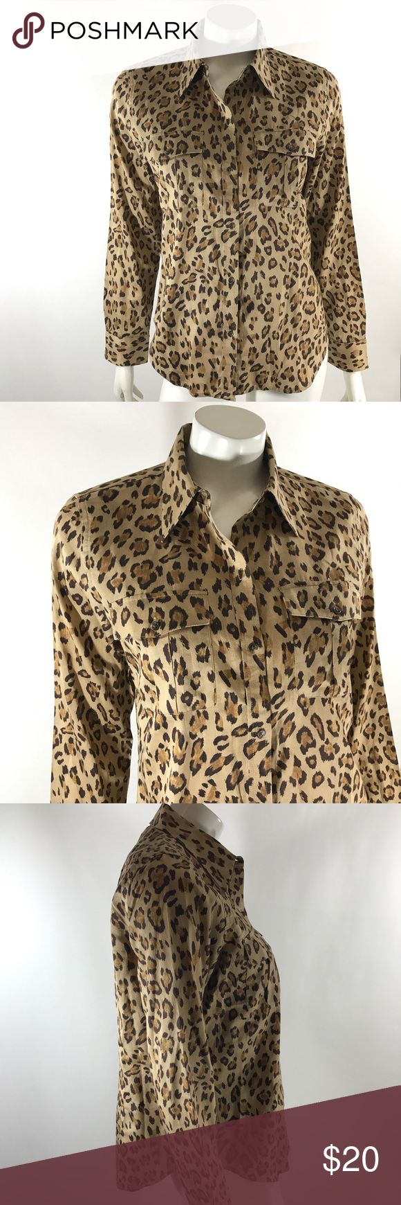 Ralph Lauren Top Size Large Brown Animal Print Lauren Ralph Lauren Womens Top Size Large Brown Animal Print Button Down Shirt. Measurements: (in inches) Underarm to underarm: 20.5 Length: 25.5  Good, gently used condition Lauren Ralph Lauren Tops Button Down Shirts