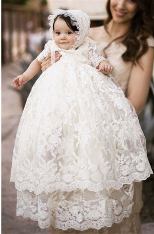 Venta Caliente Infantil Niña Bautizo Vestido Vestido de Bautizo Blanco Marfil + Sombrero