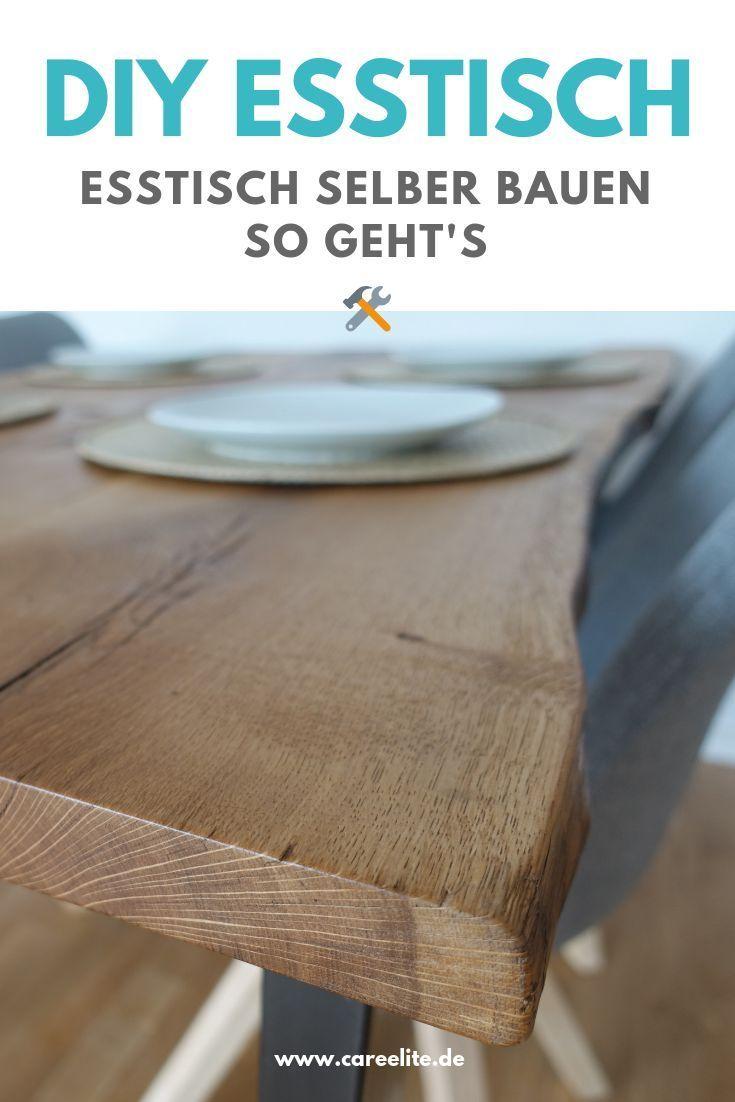 Esstisch selber bauen aus Holzbohlen