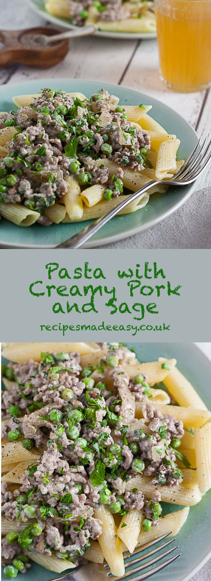 Pasta with Creamy Pork and Sage makes a delicious and quick meal that can be on the table in under 20 minutes.  #pasta #midweekmeal #familyfavourite #easyrecipe #pastasupper via @jacdotbee