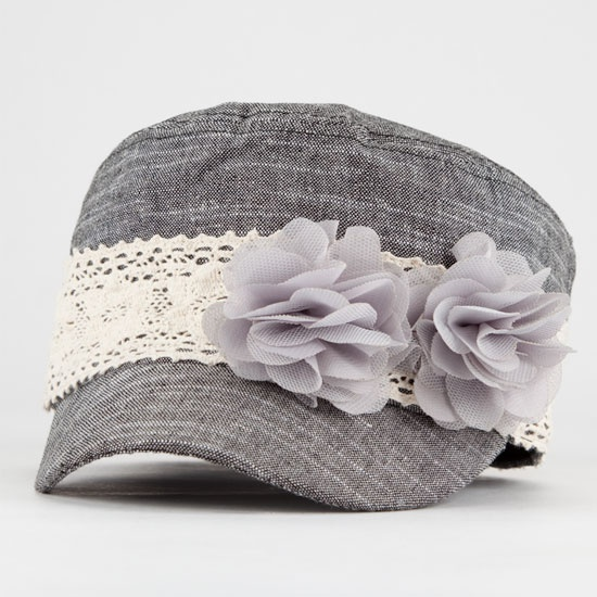 Gray military style hat w/ flowers