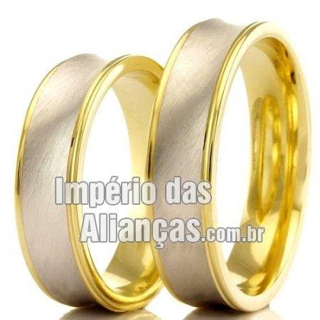 Alianças de Casamento Baratas Largura 4.5mm Acabamento Fosco e Liso Formato Anatômico Peso 9,00 gramas o par