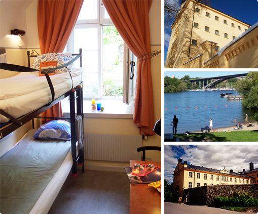 Långholmen hotel, Stockholm. Hotel en hostel in een voormalige gevangenis. Het hostel is prima wanneer je betaalbaar naar Stockholm wilt. ideaal met het gezin, strandje voor de deur!